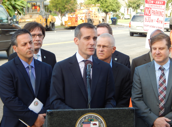 Eric Garcetti discusses street reconstruction flanked by Joe Buscaino and Mike Bonin. Photo: Damien Newton