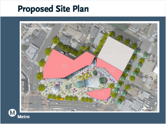 Mariachi Plaza, is that you? An 8-story structure at Bailey (the grey square) will boast 6 floors of parking and 2 of medical offices. A 3-story fitness center and retail space could crowd the western end of the plaza. (Source: Metro presentation)