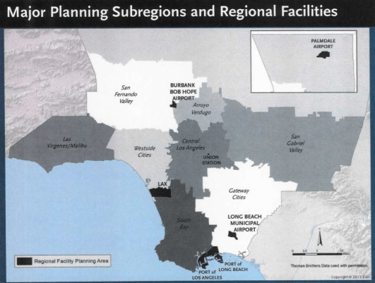 Metro's map of subregions and regional facilities. Source: Metro handout [PDF]