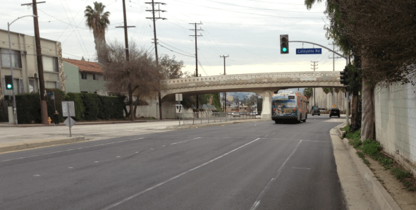 The buffered Venice Boulevard bike lanes extend from Arlington Avenue to at least Lafayette