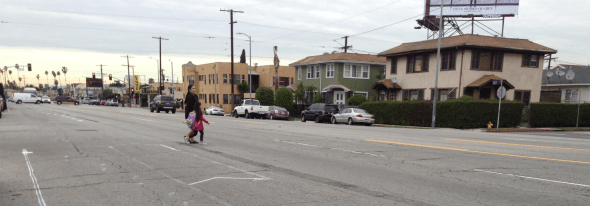 The new road diet will make Venice Boulevard safer for everyone. People on foot will have fewer car lanes to walk across.