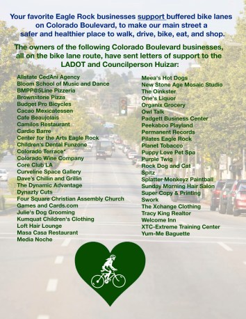 Business support for Colorado Blvd bike lanes. Image via ERNC
