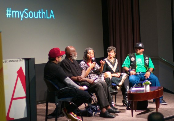 George Villanueva moderates the Food, Recreation, and the Arts as Social Justice and Civic Engagement Visions and Voices panel at USC featuring Ben Caldwell, Karen Mack, Neelam Sharma, and J.P. Partida. Sahra Sulaiman/Streetsblog L.A.