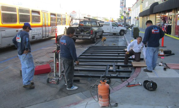 Construction underway on Huntington Park's fourth parklet. Photo by Ryan Johnson