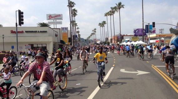 Studio City's Ventura Boulevard transporting more people than on a typical car-full Sunday.