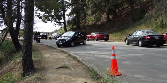 Cars parking and turning on Mount Hollywood Drive, until recently one of Griffith Park's car-free recreation roads. Photo courtesy Friends of Griffith Park