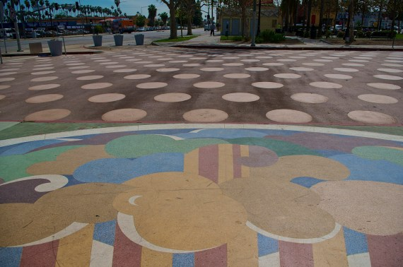 The view of the People St Plaza in Leimert Park from the front of the Vision Theater. Sahra Sulaiman/Streetsblog L.A.