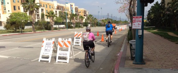 "LADOT hosted its ""Pop-Up Chandler Cycletrack"" to demonstrate how the planned Chandler Boulevard protected bike lanes will work."