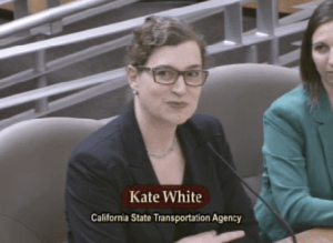 CalSTA Deputy Secretary for Environmental Policy and Housing Kate White testifies to the CA legislature on the benefits of encouraging walking and bicycling