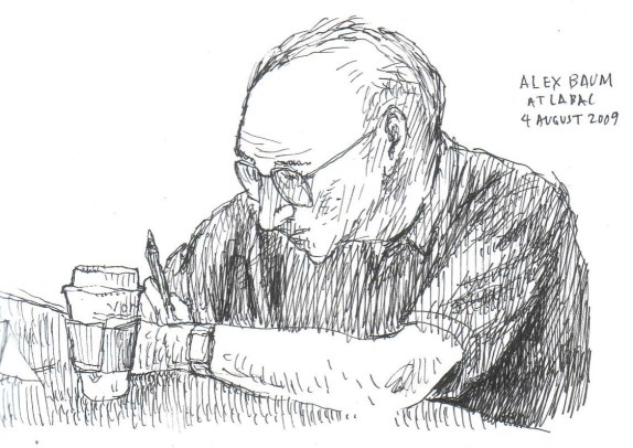 Alex Baum at the August 2009 Los Angeles City Bicycle Advisory Committee meeting. Sketch by Joe Linton/Streetsblog L.A.