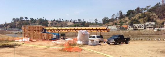 Visitor orientation center building under construction at L.A. State Historic Park