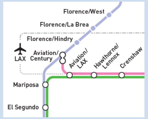 Possible rail operations in the LAX area where the existing Green Line will meet the under-construction Crenshaw/LAX line. Image via Metro [PDF]
