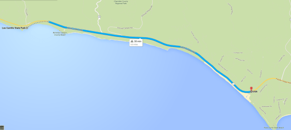 Malibu's new Pacific Coast Highway bike lane. Image via Google Maps