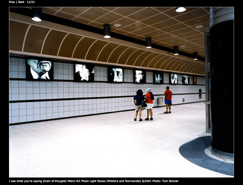 """I see what you're saying (train of thought)"" from the Wilshire/Normandie Station in 2001 (screen shot of her web page)"
