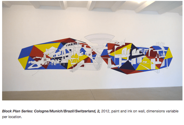 Block Plan Series: Cologne/Munich/Brazil/Switzerland, 2, 2012, paint and ink on wall, dimensions variable per location.
