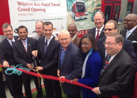 Yesterday's Wilshire BRT ribbon-cutting. Foreground left to right: xxx