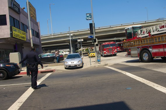 Cars are diverted to the sidewalk to get around the vehicles of the first responders. Sahra Sulaiman/Streetsblog L.A.