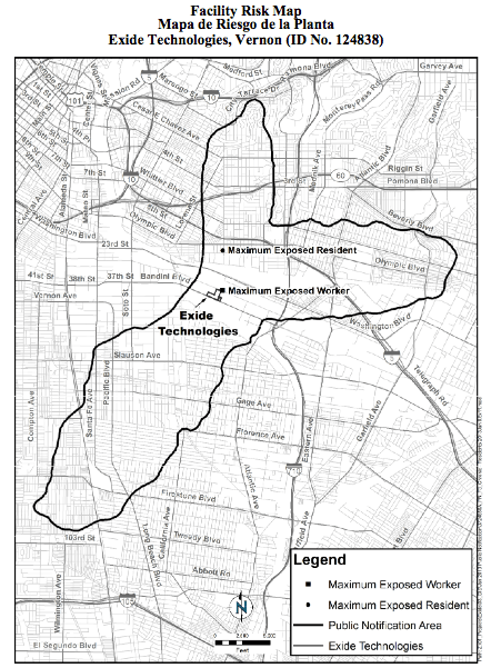 Residents within the dark outline were told they may be at risk from toxic emissions from Exide by the AQMD. Source: AQMD Health Risk Assessment Workshop Flyer