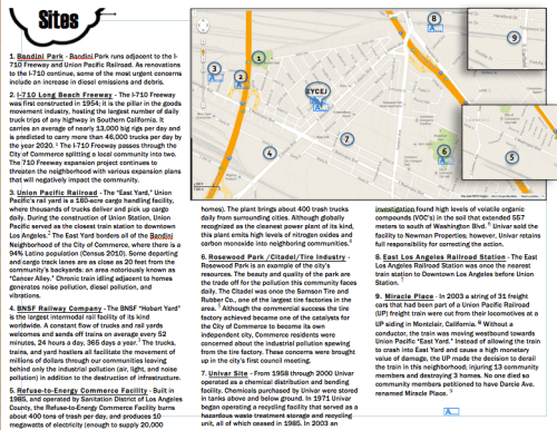 A map highlighting some of the toxic facilities surrounding the East Yards communities in Commerce. Screen shot from EYCEJ. Click to enlarge.