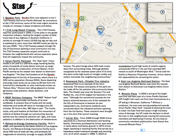 A map highlighting some of the toxic facilities surrounding the East Yards community in Commerce. Screen shot from EYCEJ. Click to enlarge.