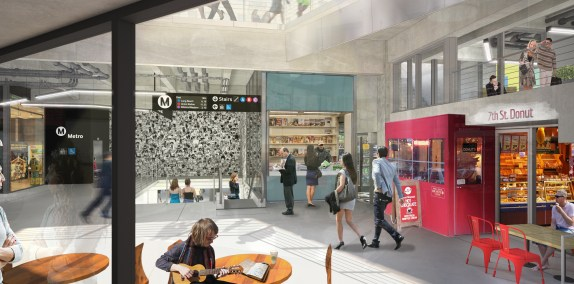 Rendering of what the new 7th Street Station portal will look like from inside The Bloc.