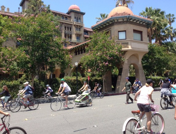 CicLAvia Pasadena cruises past the landmark Castle Green