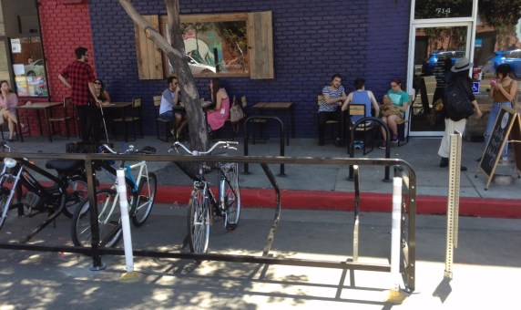 Downtown L.A.'s third great bike corral in front of Pie Hole.