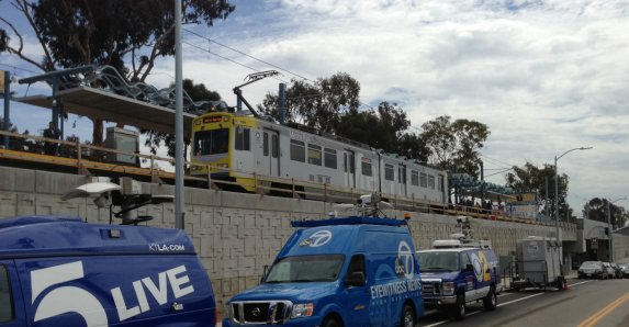 Metro Expo Line test train at Palms Station this morning. All photos: Joe Linton/Streetsblog L.A.