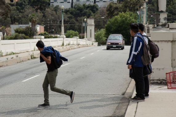 Current Glendale-Hyperion Bridge deficiencies foster unsafe pedestrian crossings, including High School students who walk to Marshall High School via the bridge. The L.A. City Council approved a design today that will remove a sidewalk from the bridge. Photo: Sean Meredith