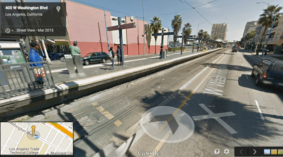 Not the most inviting of stations (Blue Line @ Grand). Google maps screen shot.