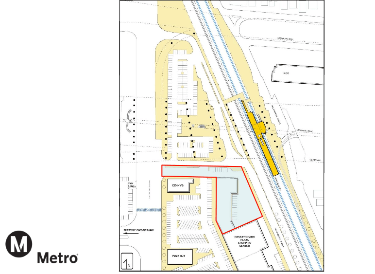 The section of KHP Metro would need to demolish to construct the new facilities is within the red boundaries. (Source: Metro)