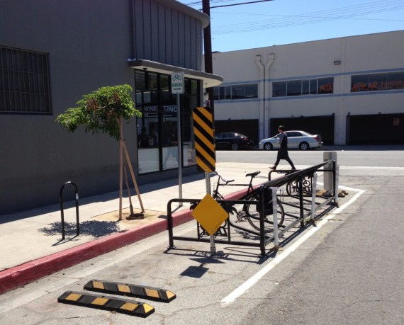 Downtown Los Angeles' first bike corral - in front of Blue Bottle Coffee. Really. Photos by Joe Linton
