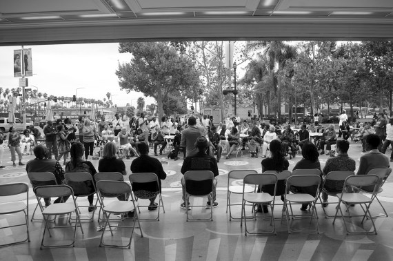 Councilmember Herb Wesson and local dignitaries celebrate the opening of the People St Plaza project. Sahra Sulaiman/Streetsblog L.A.