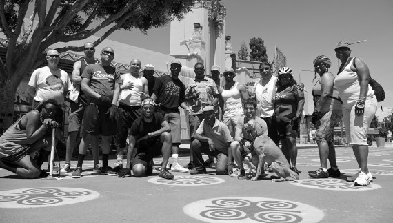 Ride On! and BKoB members and some of the folks they helped out. Sahra Sulaiman/Streetsblog L.A.