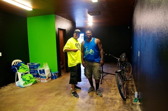 John Jones III and Chuck Standokes stand in the freshly-painted space. Sahra Sulaiman/Streetsblog L.A.