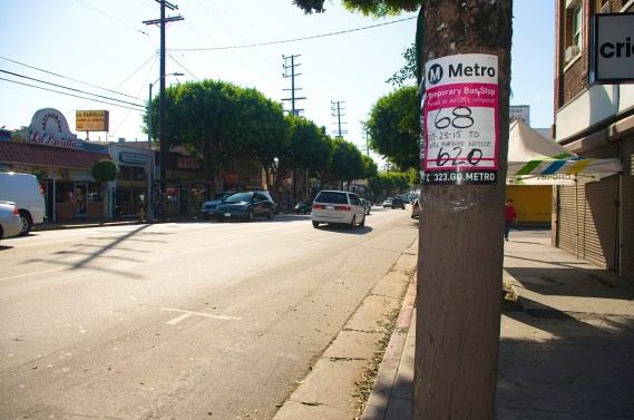 The new bus stop, located a block and a half east of the original stop at St. Louis. Sahra Sulaiman/Streetsblog L.A.