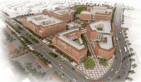 "Rendering of the $650 million USC Village, sited at Jefferson and Hoover and touted as ""the most expansive development project in the history of South Los Angeles."" Source: USC"