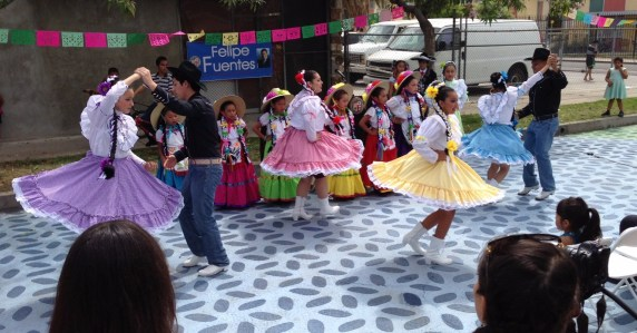 Folklorico dancers at the openign of People St's Bradley Plaza. Photo by Joe Linton/Streetsblog L.A.