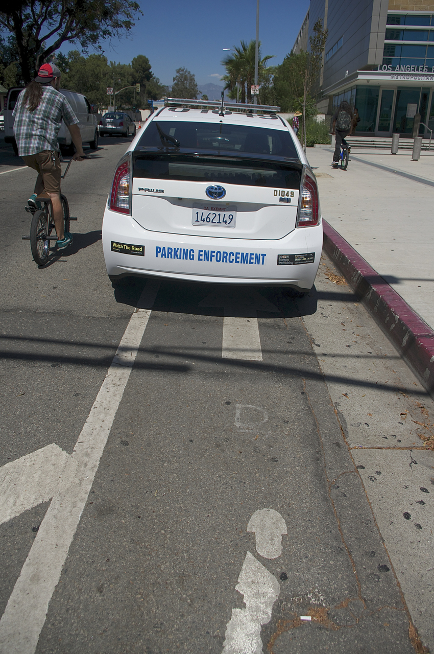 Parking enforcement often parks in the bike lane. Sahra Sulaiman/Streetsblog L.A.