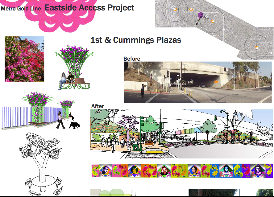 Screenshot of the placita envisioned for 1st and Cummings, as well as the art meant to line the freeway overpass. Source: Metro