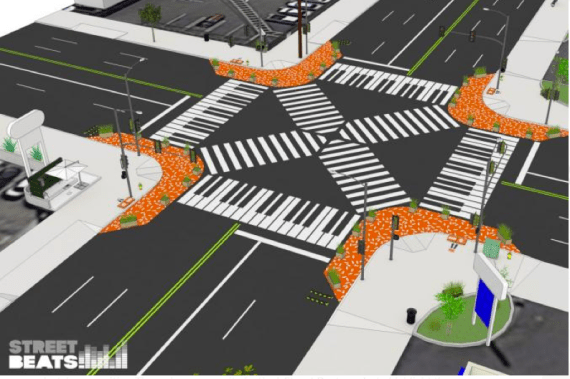 Shouldn't all intersections be magically musical? A re-imagined Florence and Crenshaw by the Street Beats team. Rendering: Studio MMD