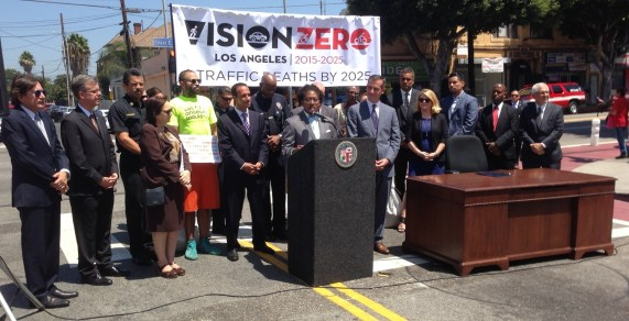 Los Angeles County Bicycle Coalition Executive Director Tamika Butler speaks on Los Angeles' new Vision Zero policy at today's signing ceremony in Boyle Heights. Photo: Joe Linton/Streetsblog L.A.