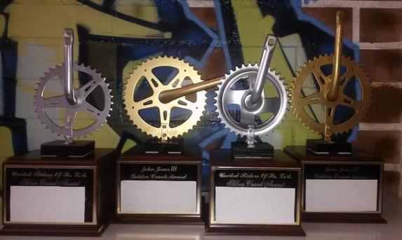 Crank award trophies handmade by JP Partida. Photo: JP Partida