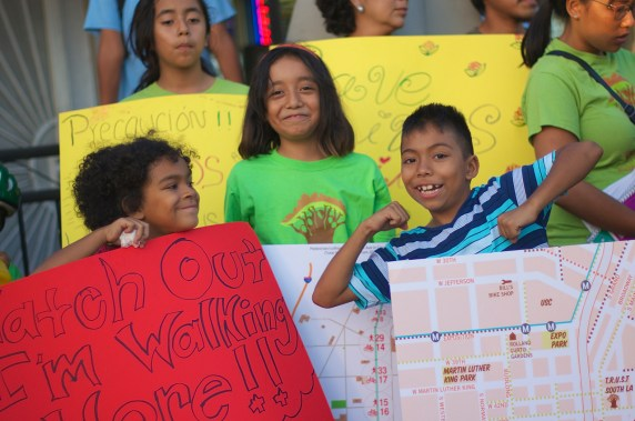 Kids call for a safer street. Sahra Sulaiman/Streetsblog L.A.