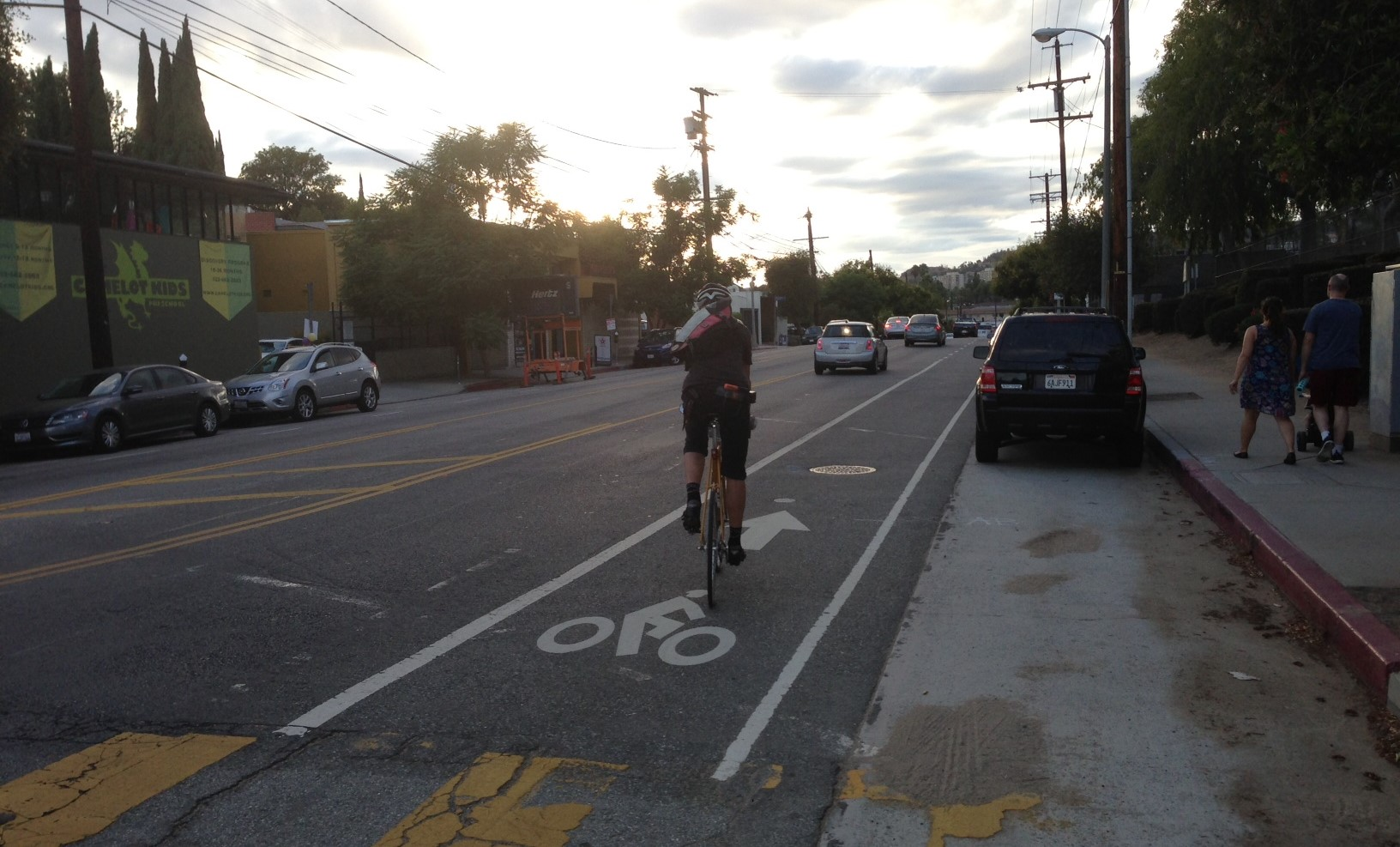 Silver Lake's half-mile Rowena Avenue road diet. Photo by Joe Linton/Streetsblog L.A.