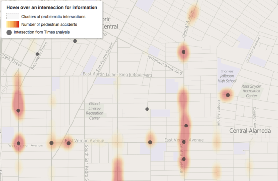 Screen shot of LA Times mapping of pedestrian collisions along Central. Together the black dots represent 48 collisions. Source: LA Times