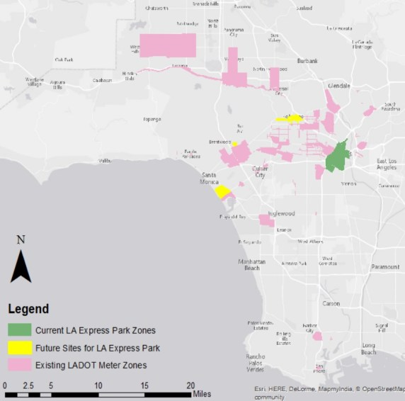 Map of parking meter districts in the city of Los Angeles. Image via Working Group report