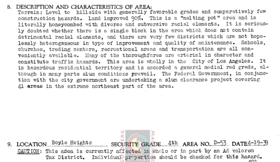 The HOLC's description of Boyle Heights in 1939. Source: