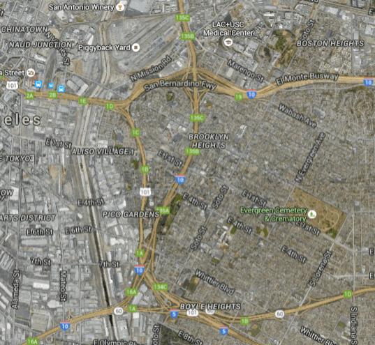 Boyle Heights and some of the many freeways. Those along its western edge cut through Hollenbeck Park. Those to the south cut very-low income residents, including some housing development projects, off from the rest of the community. Similarly, the massive width of the 10 to the north isolates housing development Ramona Gardens (marked as Boston Heights on the map) northern end of Boyle Heights from the rest of the community. (Google maps screen shot)