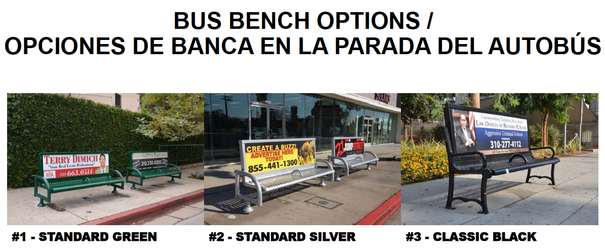 Bus bench options. Click to enlarge.
